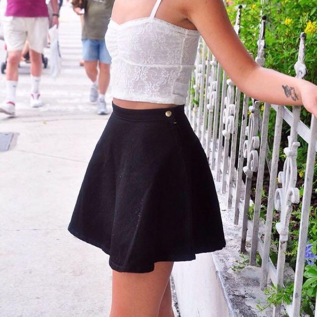 American Apparel Black Denim Circle Skirt