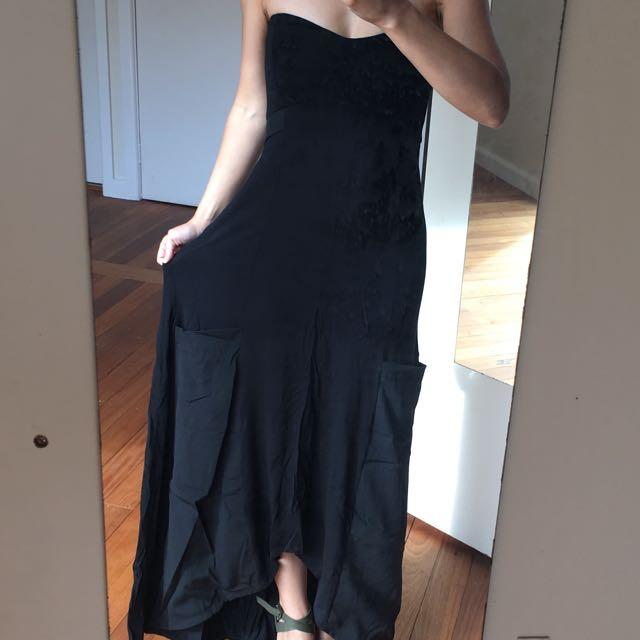 Asos Hi-Lo Bandeau Dress Black