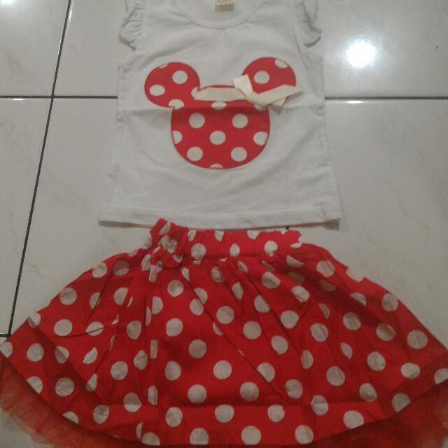 Baju Set Rok Minnie Mouse