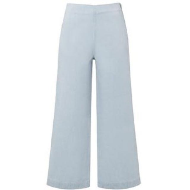 Bleached Denim Culottes Size 6 Seed Heritage