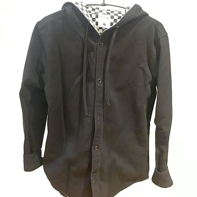 Flow 西門購入黑白賽車格紋連帽襯衫 厚磅數