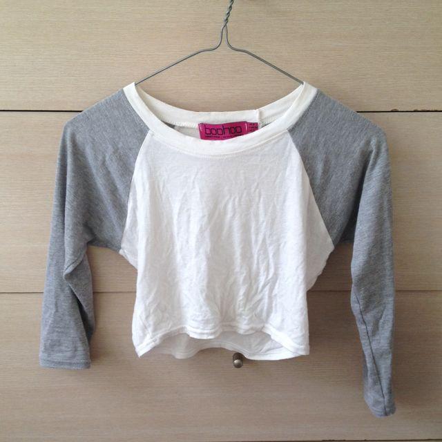 Grey/White Crop Top