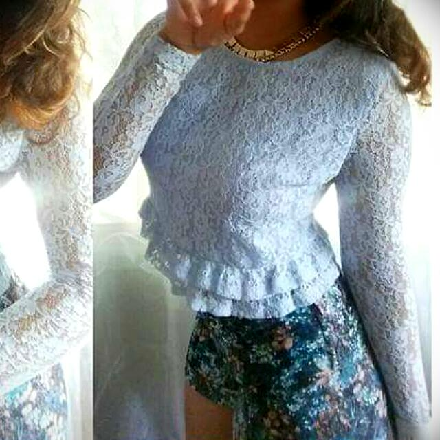 H&M Outfit - Lace Top And Print Shorts