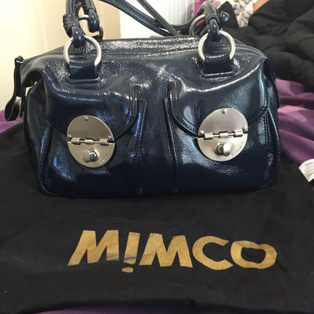 Mimco MINI Turnlock Navy, Silver Hardware