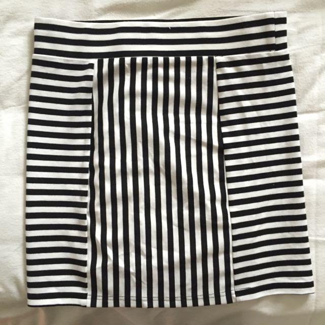 Mink Pink Stripe Tight Skirt
