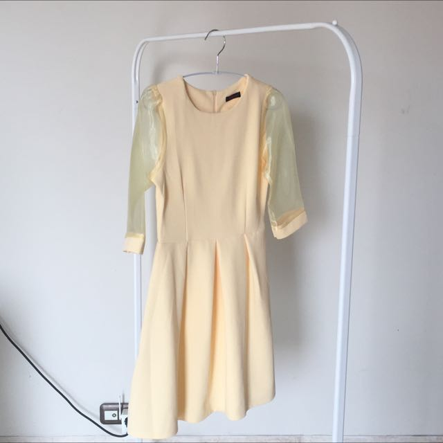 New Pale Yellow Dress With Organza Sleeve