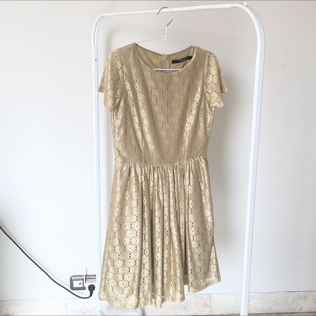 New Shopatvelvet Gold Lace Dress