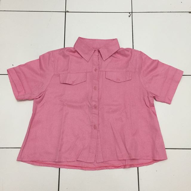 Pink Checkered Collar Top