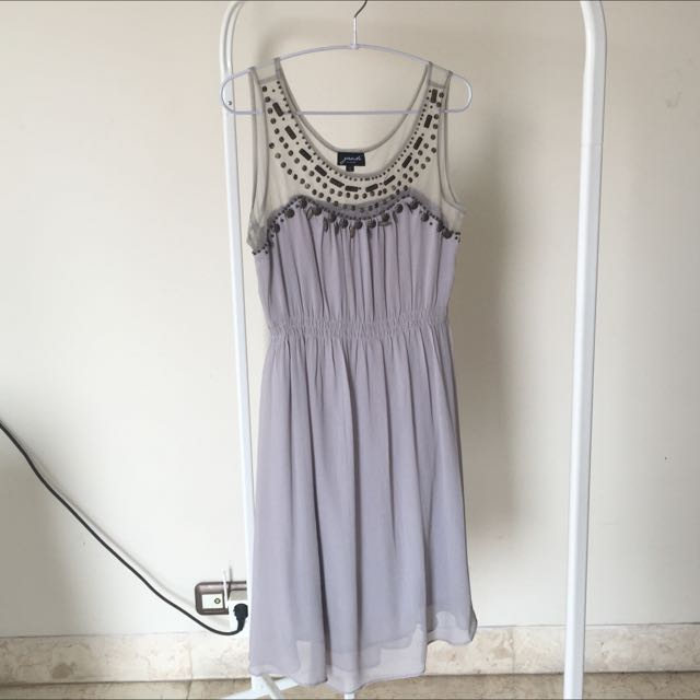Preloved Grey Party Dress With Sheer Panels