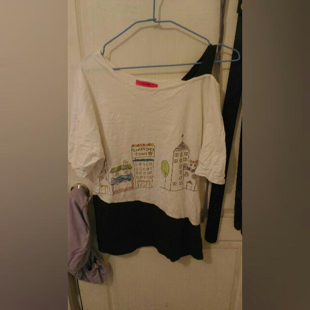 品牌露肩t恤