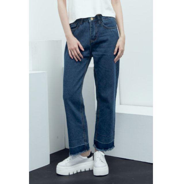 X.O.X.O歐美街拍風格寬鬆直筒褲腳雙色牛仔褲