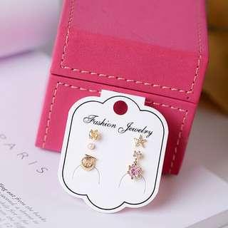 甜美優雅珍珠貝殼五件套耳環