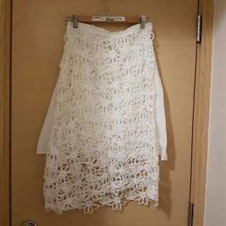 韓國純白通花裙