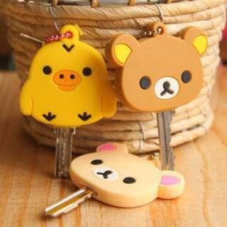 SAN-X_Rilakkuma拉拉熊/輕鬆熊 懶懶熊 懶妹 牛奶熊 卡通矽膠防水型鑰匙套/鎖匙套/鎖圈/包包吊飾黃色小雞