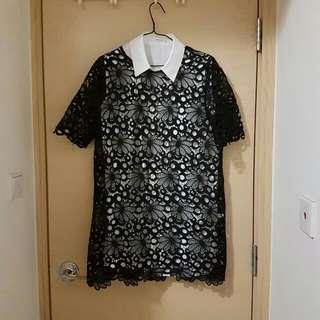 一式兩件韓國黑白通花裙