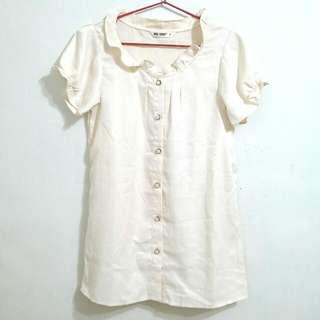 🚚 (全新) 日本古著精緻絲質短袖上衣襯衫 - 米白(S-M)