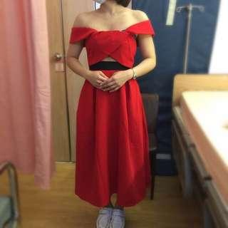全新。孫芸芸同款 大紅平口洋裝 2way穿法