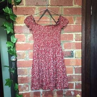 Off Shoulder Casual Floral Red Dress