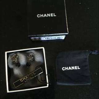 Chanel CC Earrings With Black Drop