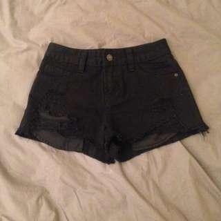 JAY JAYS Black Ripped Shorts