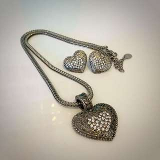 Silver Heart Necklace With Matching Earrings