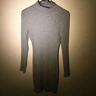 Grey Longsleeve Turtle Neck Dress