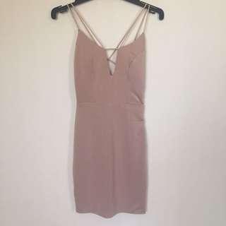 NUDE Dress - Dolly Girl Fashion