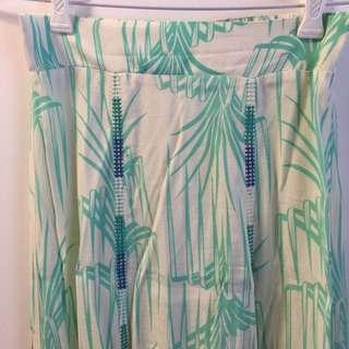 Tigerlily Palm Leaf Print Split Maxi Skirt
