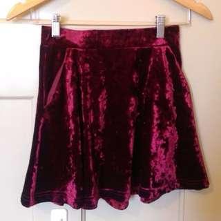 Topshop Petite Velvet Skater Skirt