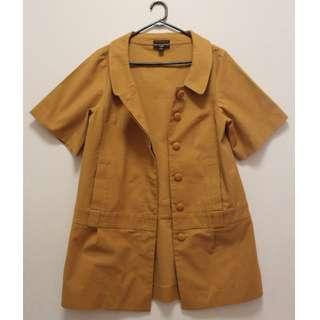 Cue Short Sleeve Coat in Mustard (Size 12)