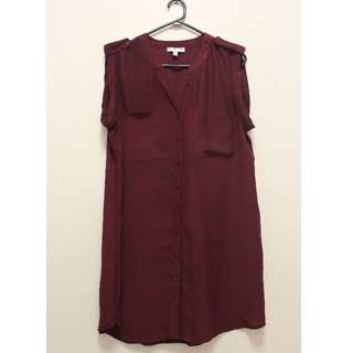 Cotton On Sleeveless Button Dress in Maroon (Size L)