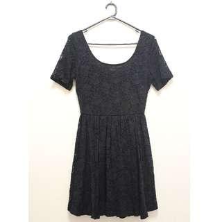 Floral Lace Skater Dress in Black (Size 12)