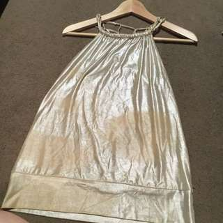 Shiny Gold Top With Knotted Back