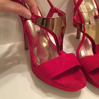 Red And Gold High Heels Size 6