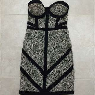Black And White Lace Strapless Dress