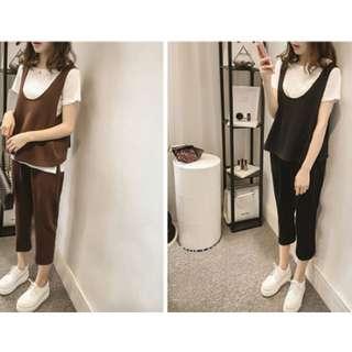 韓版胖MM大碼休閒極簡簡約素面素色褲子+短袖t卹+背心三件式套裝