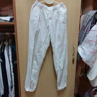 棉麻老爺褲 哈倫褲 白色