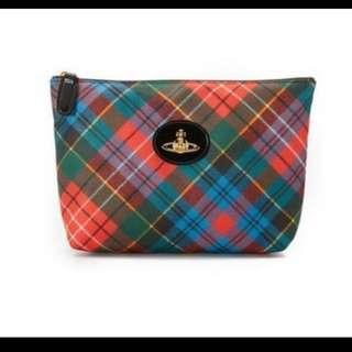 英國時尚品牌 Vivienne Westwood 土星環 經典格紋化妝包 手拿包 隨身小包 現貨