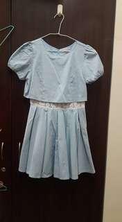 Titty&Co. 腰部鏤空藍色洋裝