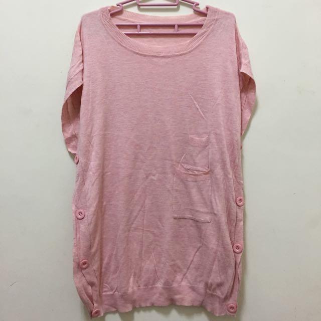 [🔻二手]粉嫩薄針織長版上衣
