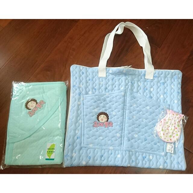 全新【高雄花媽】寶寶包巾、提袋組合、手套