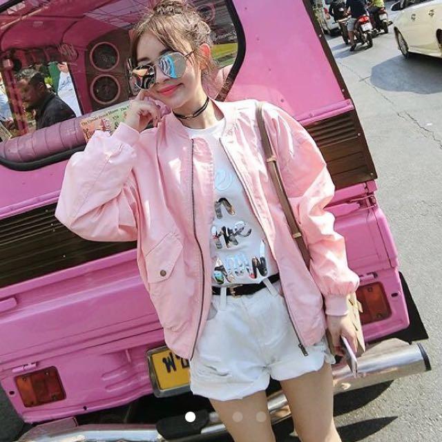 粉色薄薄飛行外套❤️