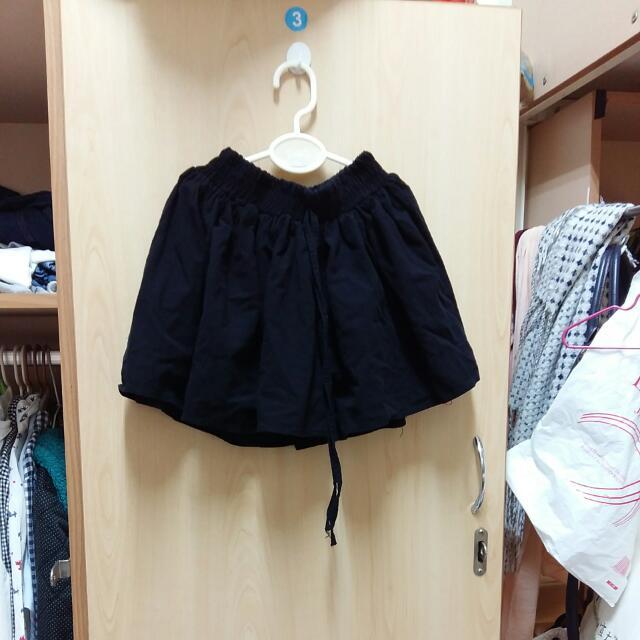 棉麻 黑色 褲裙
