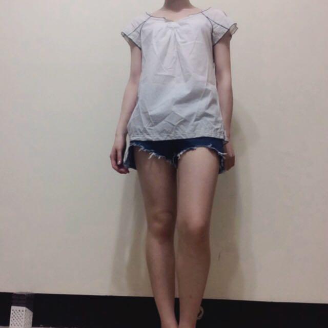 日本帶回 設計感 接蕾絲 上衣 罩衫