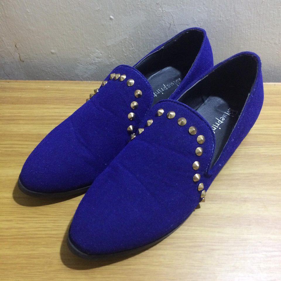 韓版 寶藍 鉚釘 樂福鞋 懶人鞋 磨砂 材質 9.5成新 EU 39