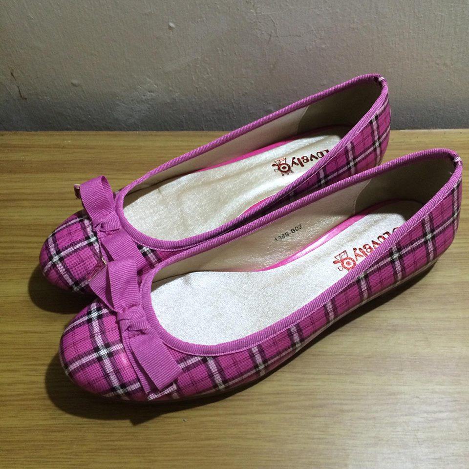 全新⭐ 桃紅 格紋 蝴蝶結 娃娃鞋 包鞋 氣質款 EU 39 JP 24.5 CM