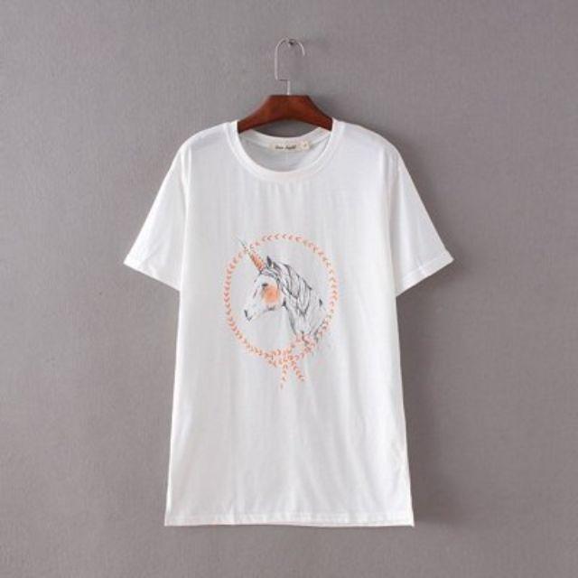 全新 韓國製 白色上衣 彩繪獨角獸 圓領 大尺碼 寬鬆T恤 短袖 棉質 柔軟舒適