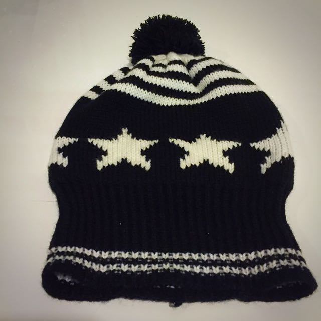 Black And White Beanie With Pom Pom