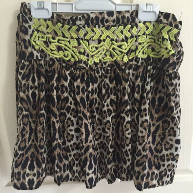Cheetah Print  With Green Aztec Design
