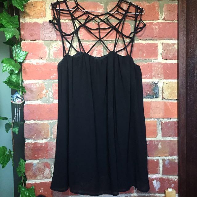 Cut-out Black Shift Dress